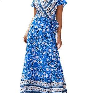 Boho Floral Maxi Wrap Dress